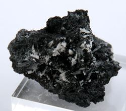 Picture of Manganite with Calcite, (Kalahari Manganese Fields, South Africa.)