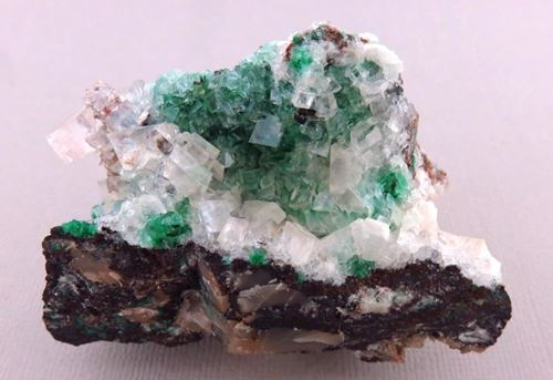 Picture of Calcite on Malachite (Tsumeb, Namibia)