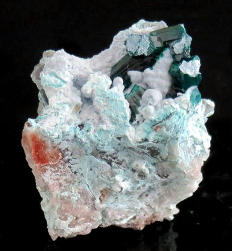 Picture of Dioptase on Plancheite (Namibia)
