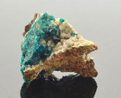 Picture of Dioptase with Calcite (Tsumeb, Namibia)