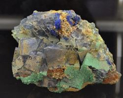 Picture of Linarite, Malachite, Fluorite. (Blanchard Mine)