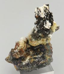 Picture of Hyaline Opal on Schorl, on Fluorite (Erongo, Namibia)