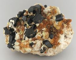 Picture of Schorl & Hyaline Opal on Feldspar (Erongo, Namibia)